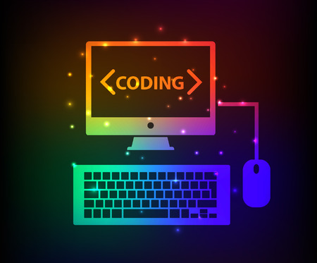 Programming design,abstract rainbow concept,clean vector Illustration