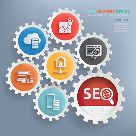 SEO,web development and database server design infographic design,clean vector Illustration