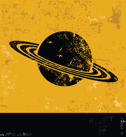 and saturn: Saturn design, yellow grunge vector