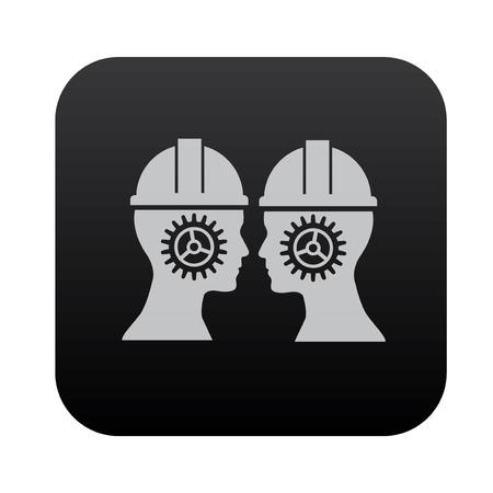 rackwheel: Gear human on black button blackboard,vector Illustration