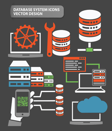 virtualization: Data,Networking and database server icon set,clean vector Illustration
