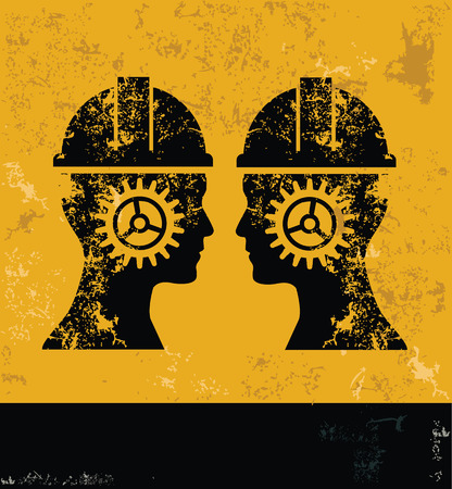 engineering design: Engineering and head concept design, yellow grunge vector Illustration