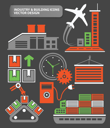 hazardous work: Airport,transport and factory icon set,clean vector