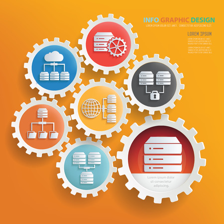 database: Database server and network infographic design,clean vector