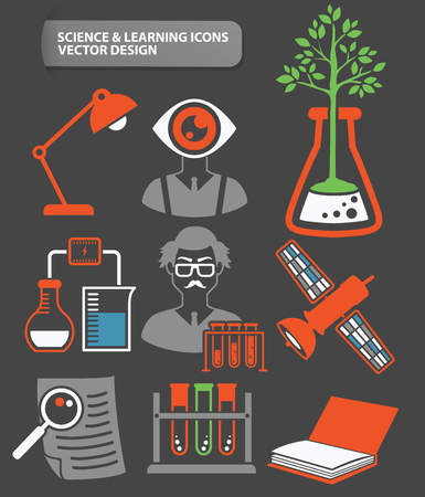 Science,learning and education icon set,clean vector
