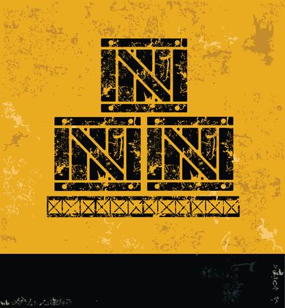 Cargo, box design on grunge yellow background, grunge vector