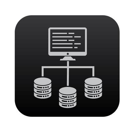 network server: Database server and network on black button blackboard,vector Illustration