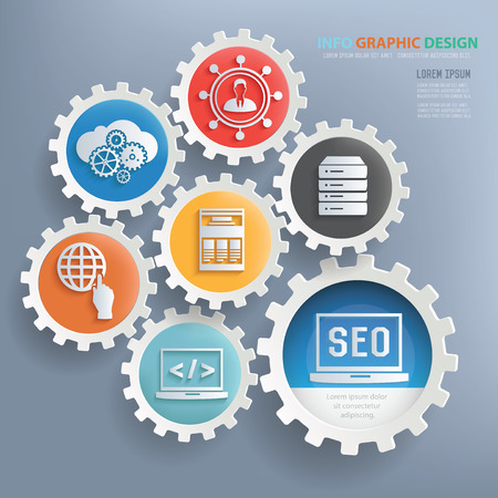smm: SEO and web development design infographic design,clean vector Illustration
