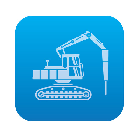cisterns: Truck,drill,industry icon on blue background,clean vector