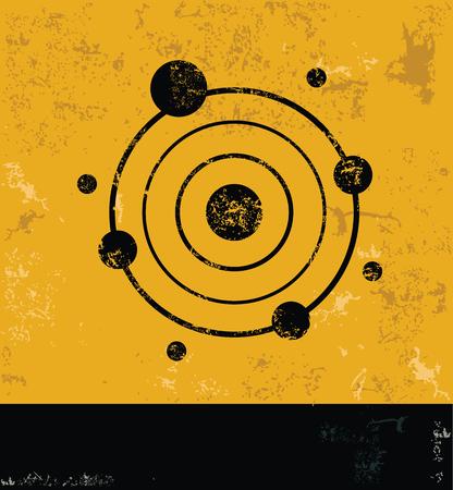 fission: Atom concept design, yellow grunge vector