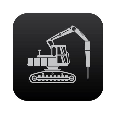 cisterns: Drill,truck on black button blackboard,vector Illustration