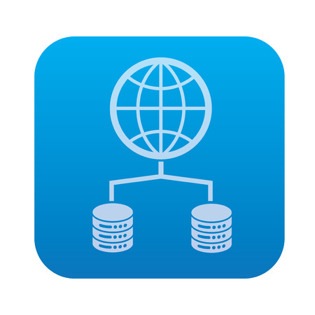 raid: Network,Database server icon on blue background,clean vector