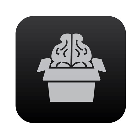 black button: Brain idea on black button blackboard,vector