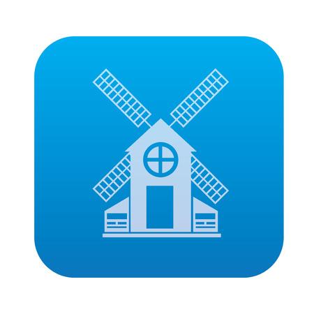 windfarm: Wind turbine icon on blue background,clean vector