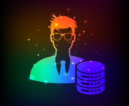 Admin,database server design,abstract rainbow concept,clean vector