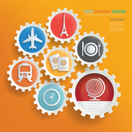 plate camera: Travel concept infographic design,clean vector Illustration