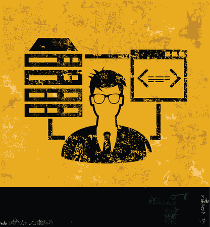 ADMIN: Admin and database concept design, yellow grunge vector Illustration