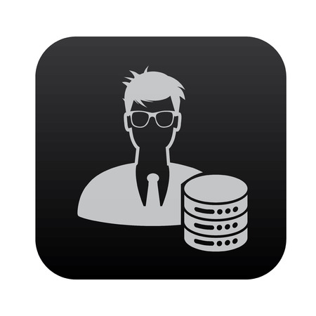 admin: Admin and database on black button blackboard,vector
