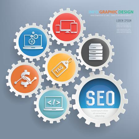 SEO en web development ontwerp infographic design, schone vector Vector Illustratie