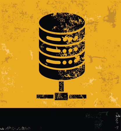 webhosting: Database server concept design, yellow grunge vector