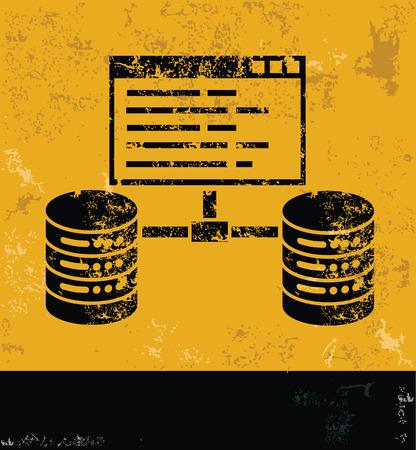webhosting: Networking and database design on grunge yellow background, grunge vector Illustration