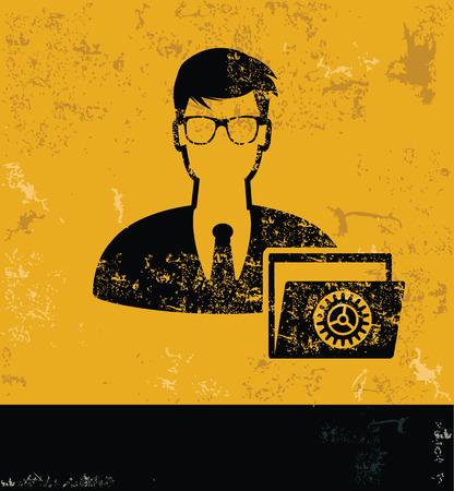 ADMIN: Admin and folder concept design, yellow grunge vector