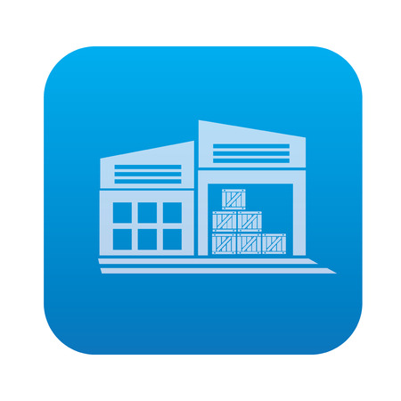 transportaion: Warehouse,industry icon on blue background,clean vector