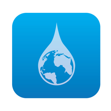 condensation on glass: Water drop,global icon on blue background,clean vector
