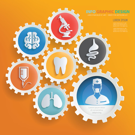 Medical and health care infographic design,clean vector Stock Illustratie