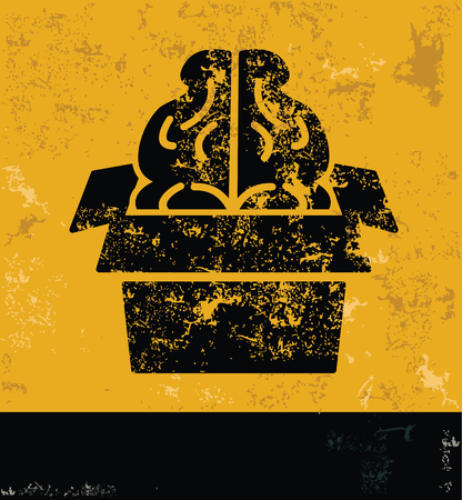 two minds: Brain concept design, yellow grunge vector