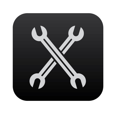screw key: Repair on black button blackboard,vector Illustration