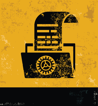 old and new: File share design on grunge yellow background, grunge vector