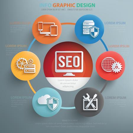 consumer society: SEO and web development info graphic design,clean vector Illustration