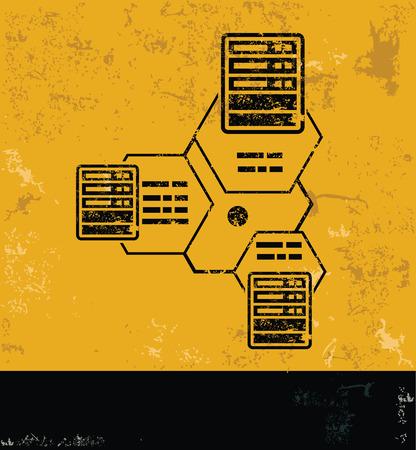 webhosting: Connection and database design on grunge yellow background, grunge vector Illustration