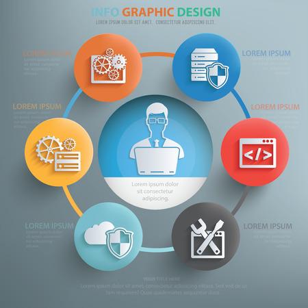 admin: Admin and web development info graphic design,clean vector