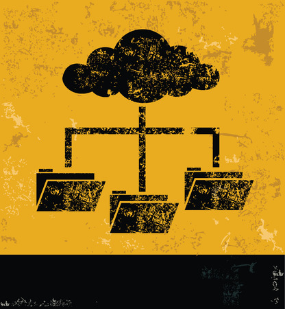 file share: Cloud computing,file share and networking concept design, yellow grunge vector