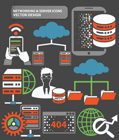 Networking and database server icon set,clean vector Illustration