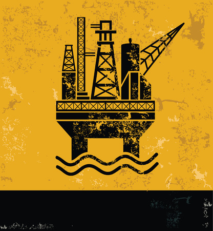industrial complex: Oil,industry design on grunge yellow background, grunge vector