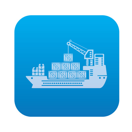 loading dock: Boat shipping,transport icon on blue background,clean vector