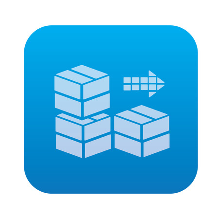 shipped: Box,cargo icon on blue background,clean vector