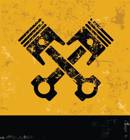 diesel engine: Engine concept design, yellow grunge vector