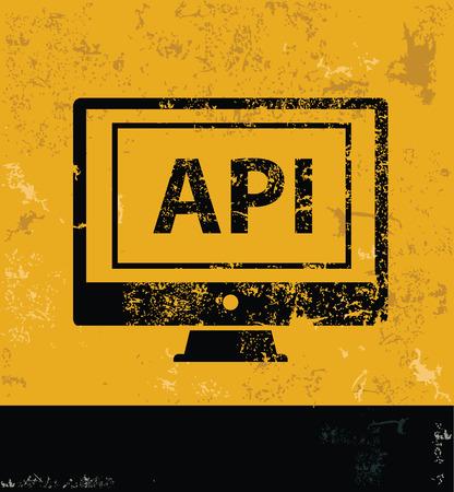 api: API concept design, yellow grunge vector