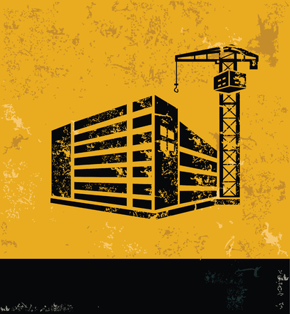 transportation facilities: Construction and industry design on grunge yellow background, grunge vector Illustration