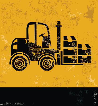 driving range: Cargo,truck, industry concept design,yellow grunge vector