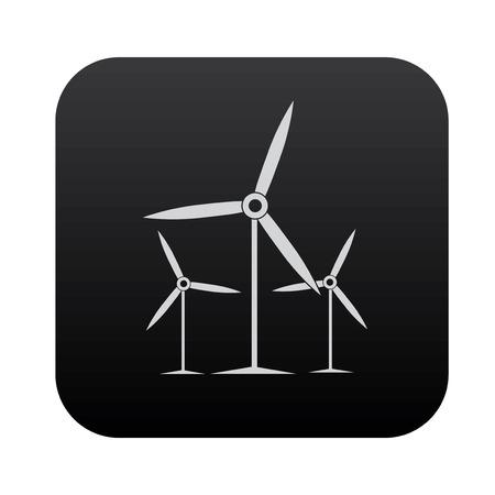 rural development: Wind turbine on black button blackboard,vector Illustration