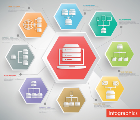 compute: Technology and database server info graphic design,clean vector