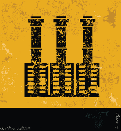 smokestack: Industry concept design, yellow grunge vector