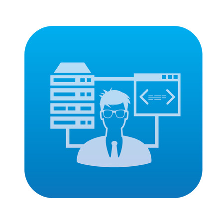 database icon: Admin,Database,network server icon on blue background,clean vector