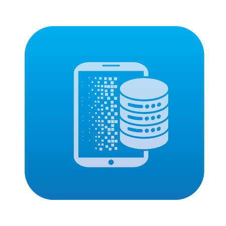 raid: Database,network server icon on blue background,clean vector
