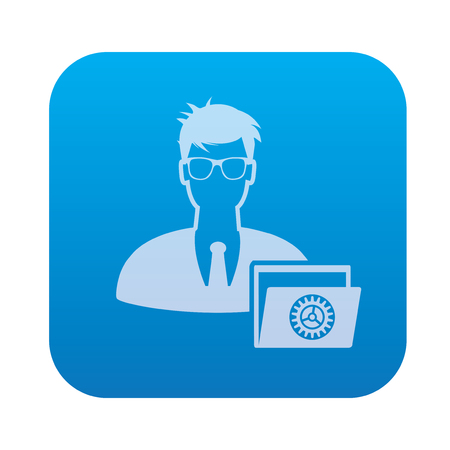 ADMIN: Admin icon on blue background,clean vector
